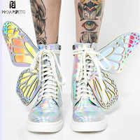 Prova perfetto 2019 asas de borboleta mulher tênis rendas até plataforma senhoras sapatos brilhantes altos topos plana casual borracha botas mujer