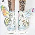 Prova Perfetto 2019 женские кроссовки с крыльями бабочки женская обувь на платформе со шнуровкой блестящие высокие топы на плоской подошве повседне...