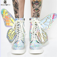 Prova Perfetto 2019 Butterfly Wings Women Sneakers Lace up Platform Ladies Shoes Shiny High Tops Flat Casual Rubber Botas Mujer
