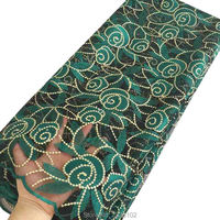 High Quality Guipure Lace Nigerian Lace 2017 5 Yards Rhinestones Green White Royal Blue Tulle French