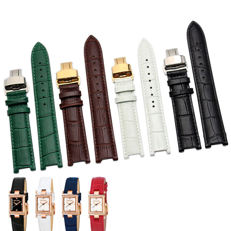 Genuine Calf Leather Watchband <font><b>20mm</b></font> x 12mm 18mm x 10mm for Pasha Men <font><b>Women</b></font> <font><b>Watch</b></font> <font><b>Band</b></font> Butterfly Clasp Wrist Strap Black Brown image