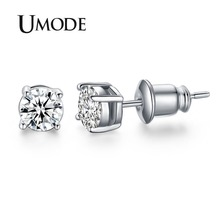 UMODE White Gold Plated 4 Prong Small Cute AAA Top Grade 0.5 Carat Sona CZ Diamond Post Stud Earrings UE0142