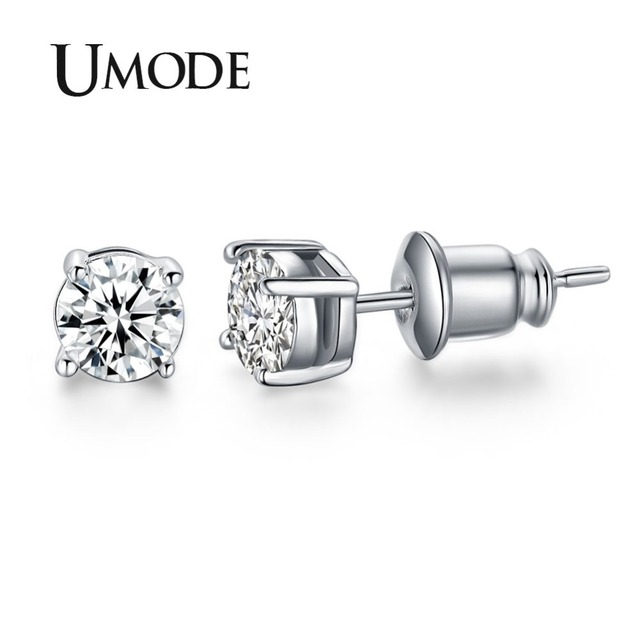 350f39d1e UMODE White Gold Color 4 Prong Small Cute AAA Top Grade 0.5ct Sona CZ Post Stud  Earrings Boucle D'oreille Femme UE0142