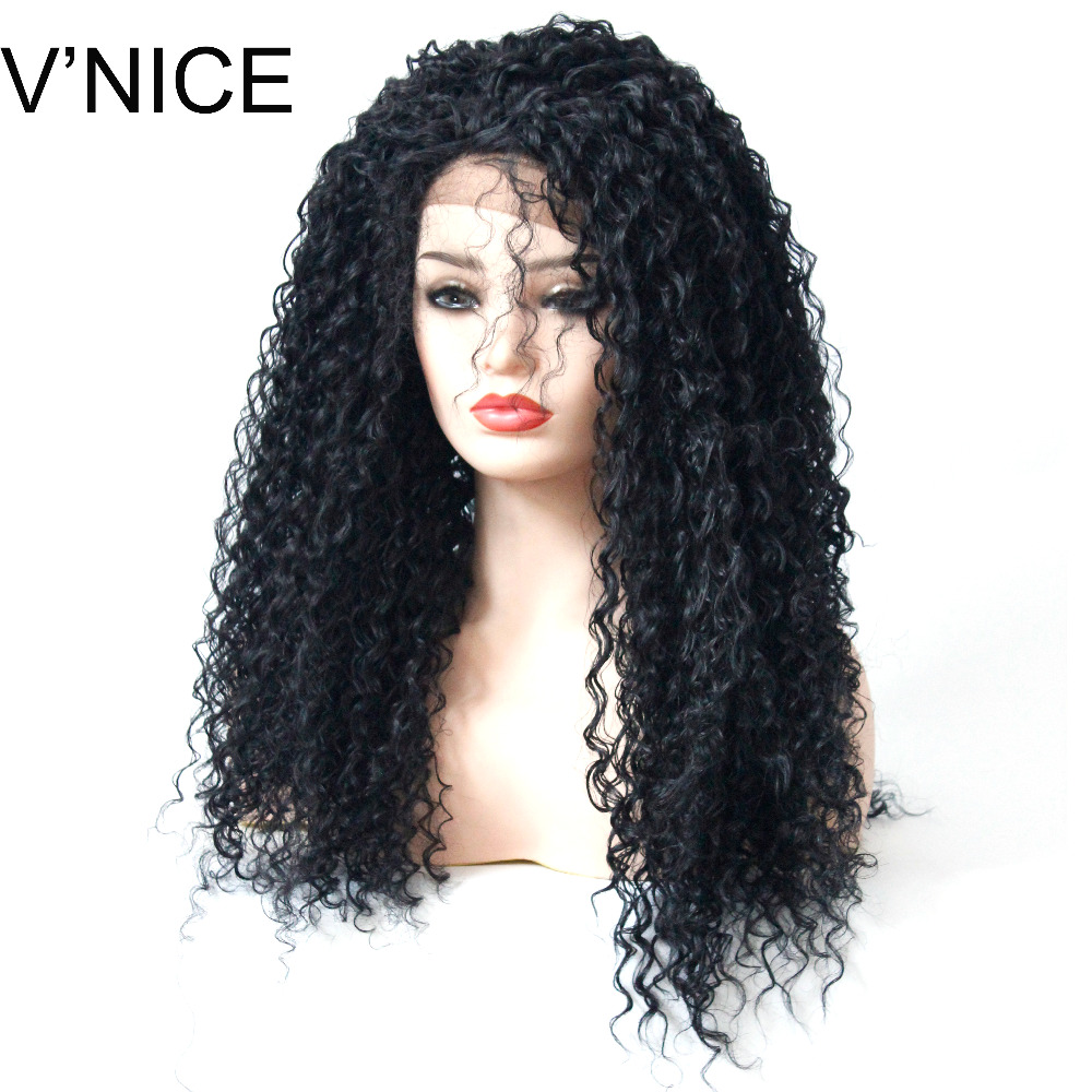 VNICE Kinky Curly Lace Wig with Baby Hair Black Hair 180 Density Natural Hairline Long Curly Synthetic Lace Front Wig for Women