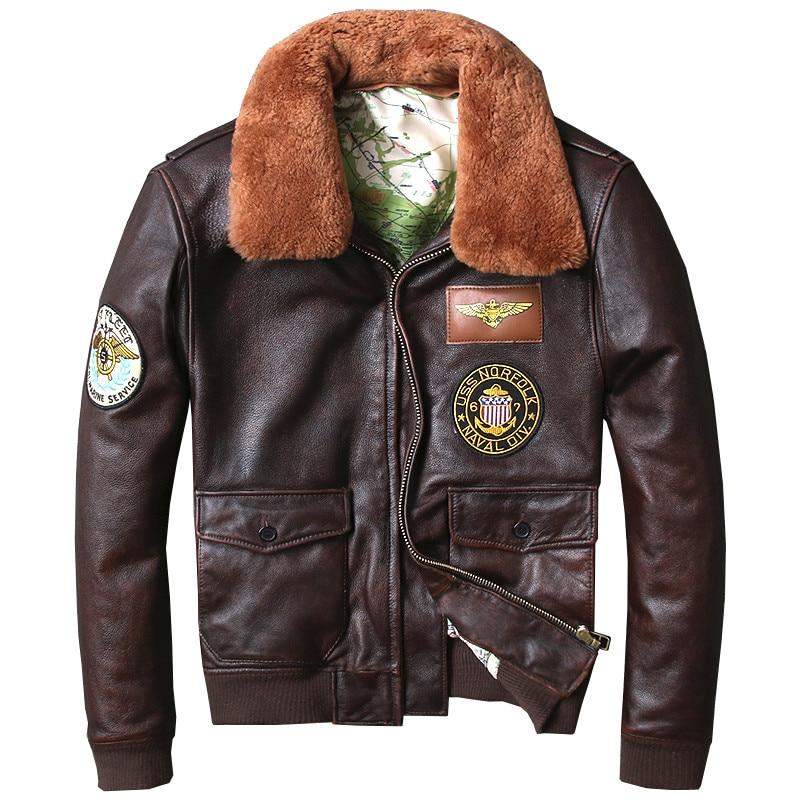 2018 Vintage Brown Men Military Pilot Leather Jacket Plus Size XXXL Genuine Cowhide Russian Winter Aviator Coat FREE SHIPPING