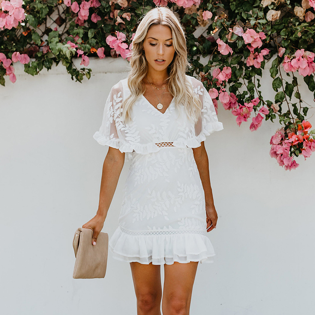 97327ddff4ef 2018 New Well Wishes Summer Lace Ruffle Dress White Embroidery ...