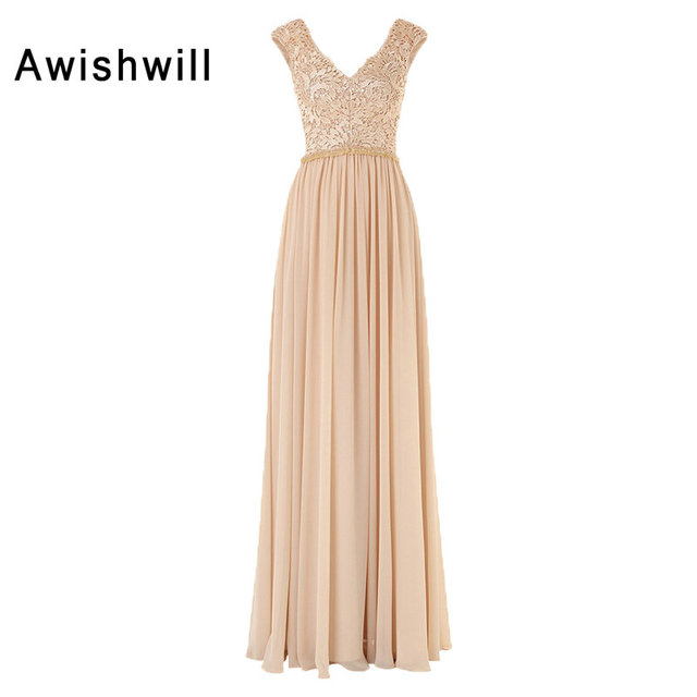 2ea7089b6322 Modest Champagne Evening Dresses Long Double V-neck Sleeveless Lace Chiffon  Floor-length Party Dress Evening Gown Robe De Soiree