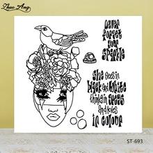 ZhuoAng Love Bird Girl Transparent Silicone Stamp / Seal DIY Scrapbook Album Decoration