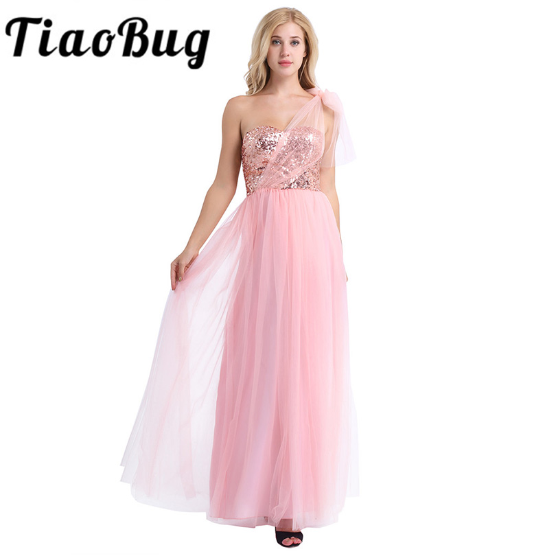 Pearl Pink Women Ladies Strapless Shiny Sequins Mesh Bridesmaid Dress Prom Gown Full Length Backless Long Wedding Party Dresses