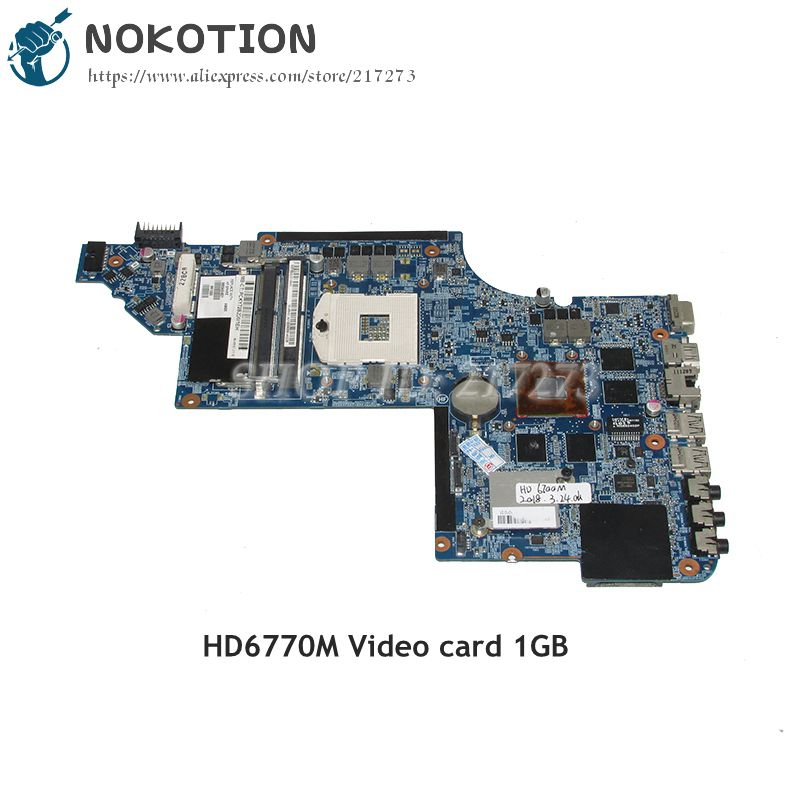 NOKOTION 665343-001 MAIN BOARD For HP Pavilion DV6 DV6-6000 Laptop Motherboard HM65 DDR3 HD6770M 1GB GPU for hp pavilion dv6 6000 notebook dv6z 6100 dv6 6000 laptop motherboard 650854 001 main board ddr3 hd6750 1g 100%