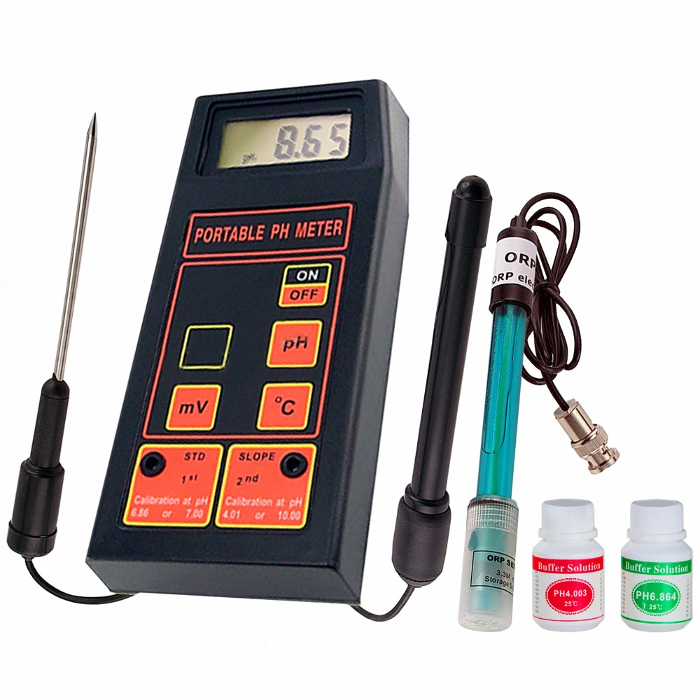 3-in-1 High Accuracy Portable pH/mV/Temp Meter + Replaceable pH & ORP Electrodes + Temperature Probe + 2 Calibration Solutions 3 in 1 high accuracy automatic calibration digital portable ph orp temp meter 0 00 14 00ph water quality analysis tester