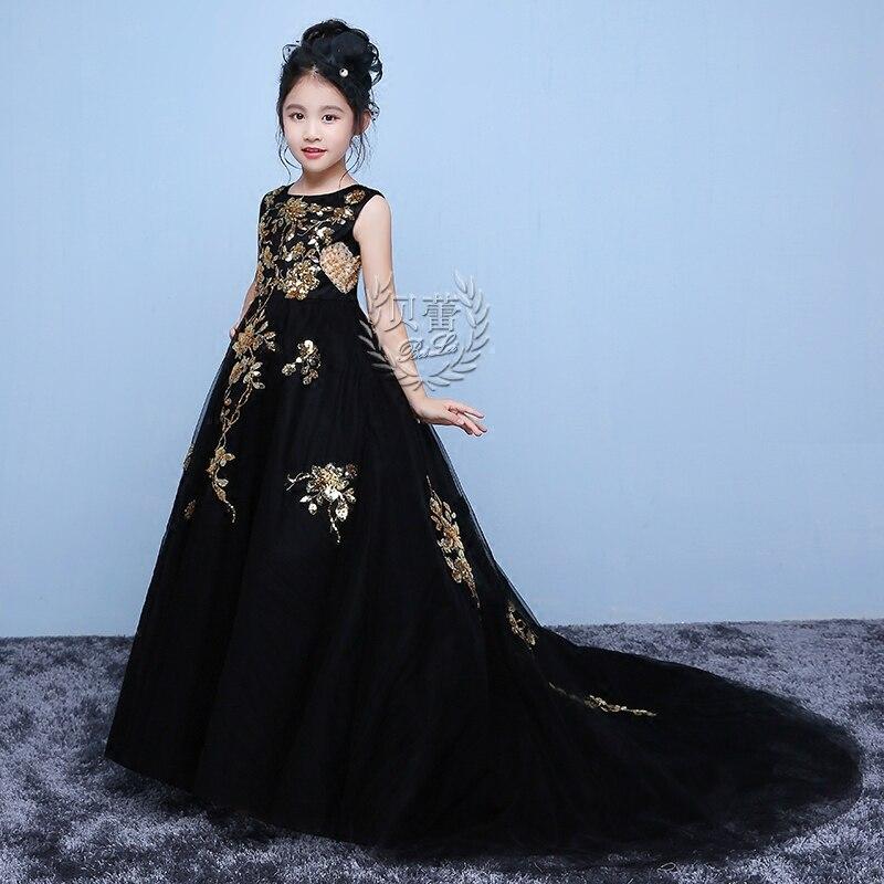 Noir 2018 longue queue princesse fleur Royal sirène robe parti robe de bal sainte Communion pour anniversaire robe de mariée M12