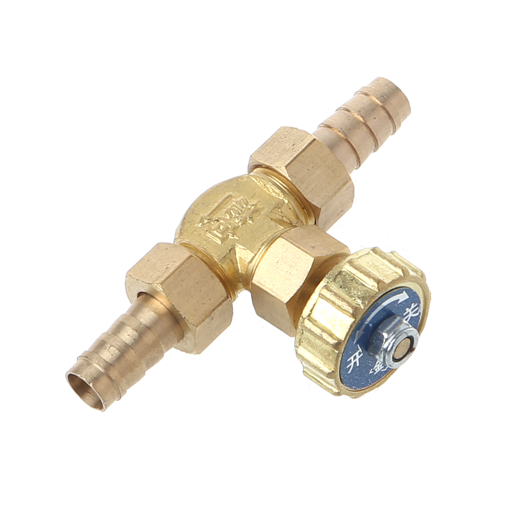 Elbow Brass Needle Valve 10mm Propane Butane Gas Adjuster Barbed Spigots 1 Mpa