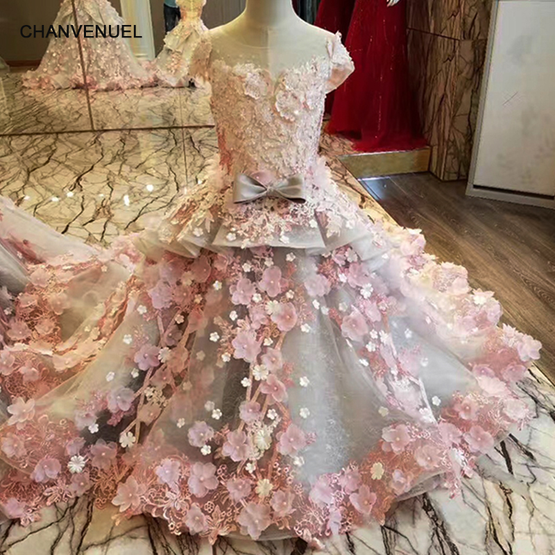 LS83920 pink flowers gray flower girl dresses o-neck short sleeve puffy dresses pageant dresses for little girls free shipping