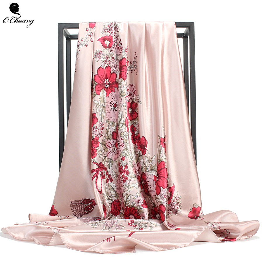 O CHUANG Fashion Women Square Scarf Luxury Brand Hijab Silky Satin Shawl Scarfs Foulard Head Silk Scarves Stoles 90x90cm