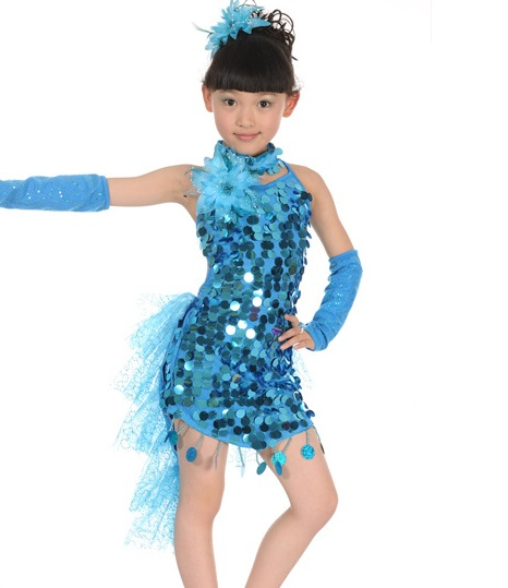Blue sequin dance dress