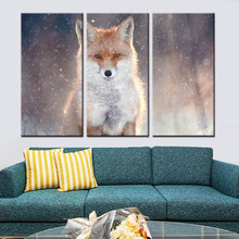 Fox Paint on Canvas Home Decorative Art Wall Picture for Living Room 3 Pieces No Framed Free Shipping Nordic Posters and Prints(China)