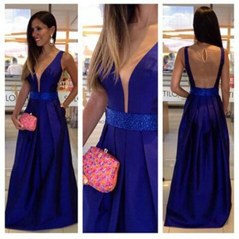 Azul real Formal Largo Vestidos de Noche 2016 robe de soirée ...