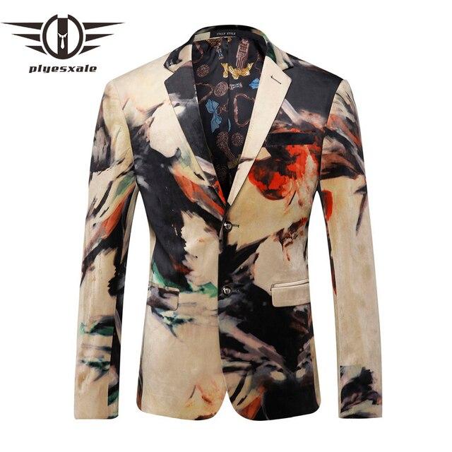 e25b727333a7 Plyesxale Hommes Blazer 2018 De Luxe Designer Coloré Hommes Blazer Veste  Italien Élégant Fantaisie Costume Veste