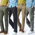 Pantalones Ligeros de carga Regular Venta Directa Venta Caliente 2016 Mens Militar Plana Pantalones Hombre Pantalones Casuales Para Hombres 281