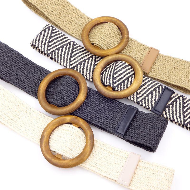 New Ladies Wide Straw Braided Woven Waist Belt Female Round Square Wooden Buckle Belt For Women Dress Cinturon Madera Paja BZ360