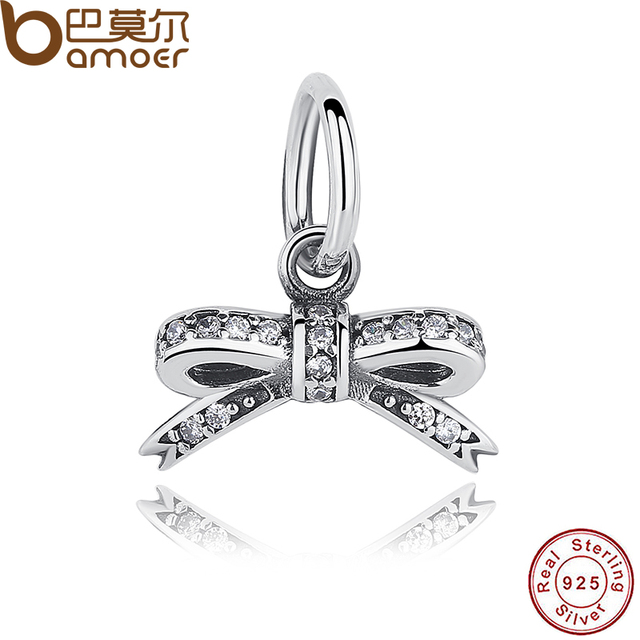 925 Sterling Silver Sparkling Bow knot Pendant Clear CZ Charms fit Bracelets Jew