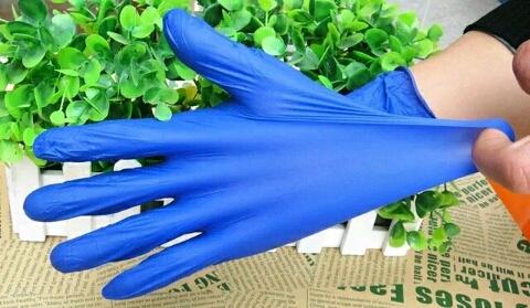 Classe Um azul luvas de borracha descartáveis