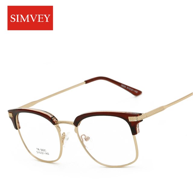 a3487d30cf Simvey 2017 Fashion Vintage Half Frame Glasses Clear Lens Unisex Optical  Designer Anti Blue Light Glasses Eyeglasses Frames Men