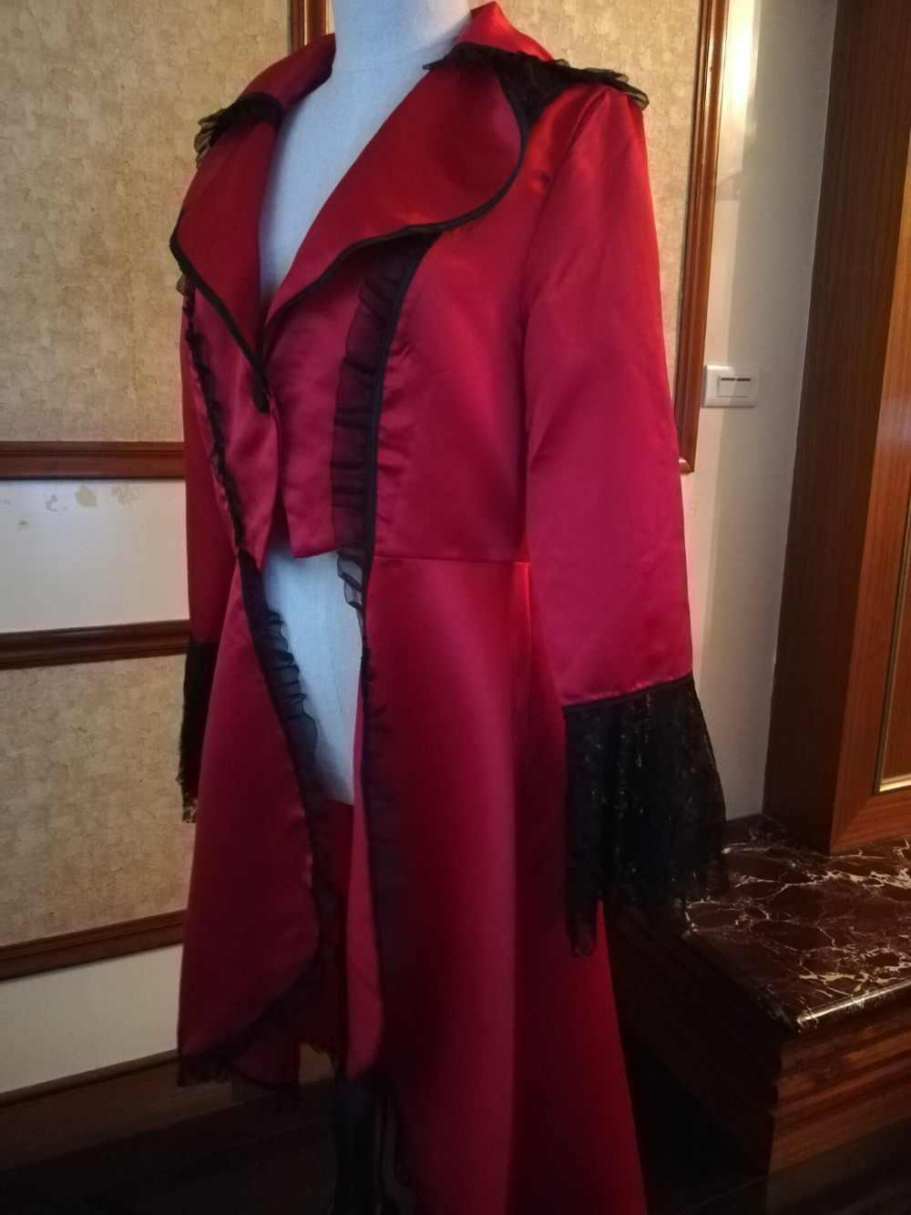 Vrouwen Lace Trim Lace-up Hoge Lage Jas Zwart Steampunk Victoriaanse Stijl Gothic Jacket Middeleeuwse Noble Hof Jurk S-3XL