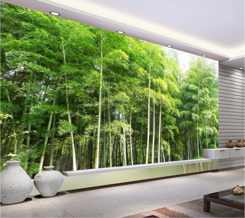 3d wall murals wallpaper for living room walls 3 d photo for Bamboo mural wallpaper