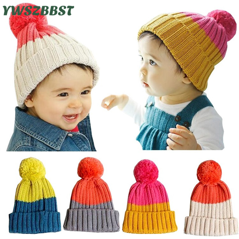 Cute Baby Cap Baby Hat for Girls and Boys Crochet Knitted Baby Hats Beanie Fashion Toddler Children Hat with Wool Ball