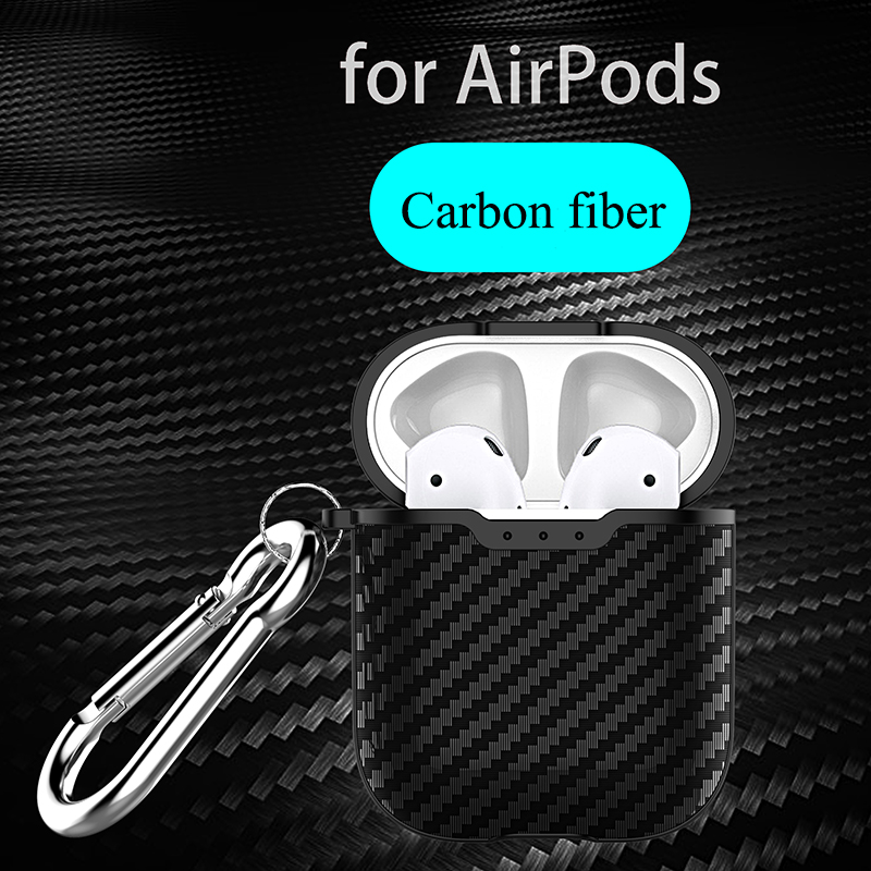 Carbon Fiber Soft TPU Earphone Case For Airpods 2 Ultra Slim Retro Shockproof Headphone Cover Case For Airpods Protection Bag