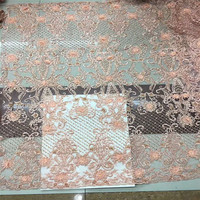 high quality african lace fabric 2018 latest 3d flower french tulle lace nigerian lace fabric with beads for wedding H480 2
