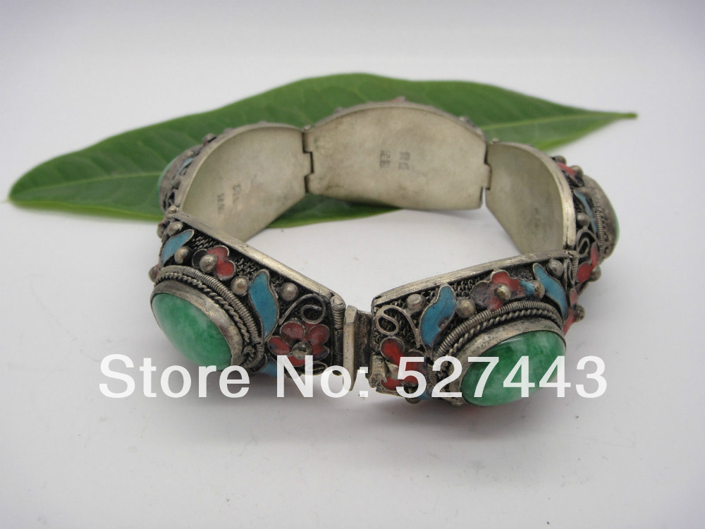 Collectible Chinese Inlay Green Jade Old Tibet Silver Cloisonne Flower Ring