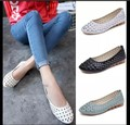 Cow muscle massage outsole Casual Slip-Resistant Flat Heel Nurse Shoes Women Flats Hollow out Mother Shoes Single