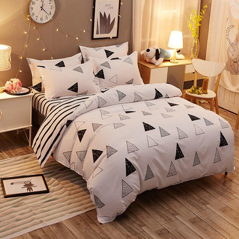 simplicity scandinavian triangles 4pcs twin full queen king size bedding linen quilt duvet doona. Black Bedroom Furniture Sets. Home Design Ideas