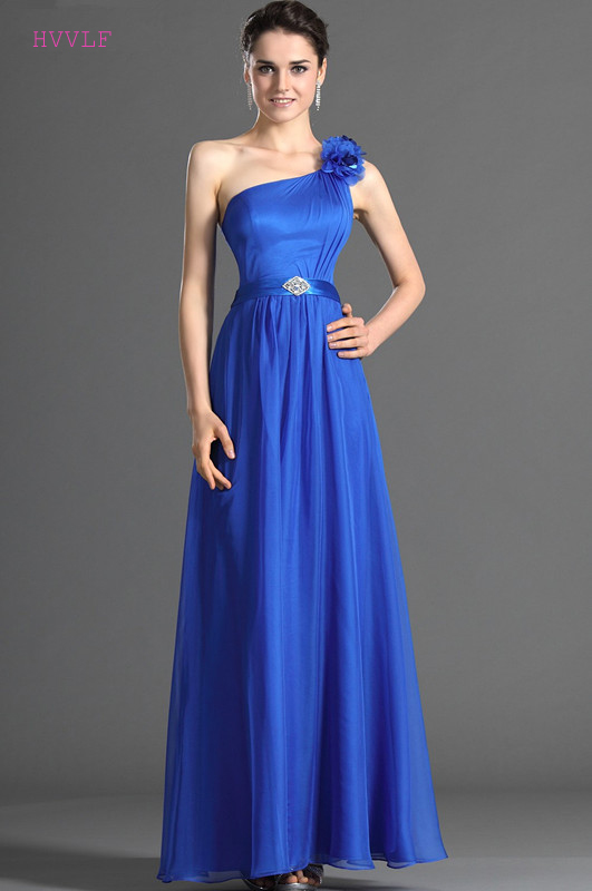 Royal Blue 2019 Cheap   Bridesmaid     Dresses   Under 50 A-line One-shoulder Chiffon Flowers Long Wedding Party   Dresses