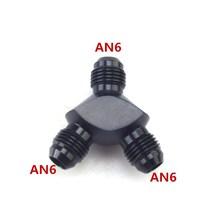 자동차 연료 라인 알루미늄 Y 형 피팅 3 방향 나사 Y 커넥터 an 6 Y 형 수 연결 피팅