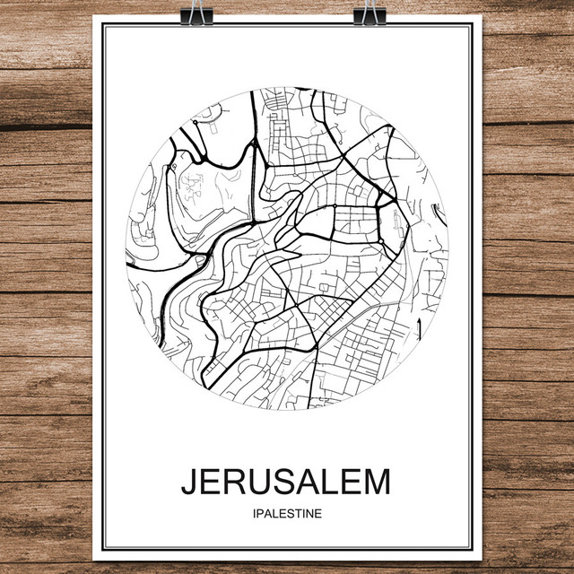 Abstract world city street map jerusalem palestine print poster abstract world city street map jerusalem palestine print poster coated paper cafe living room home decor gumiabroncs Choice Image