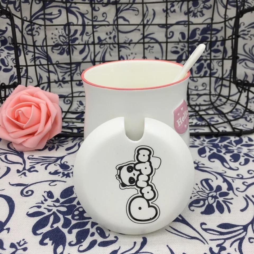 Hot Sale Kawaii Cartoon Panda Mugs ceramic cup with spoon lid water bottles coffee mugs milk mugs tea cups Best Gift For Lovers