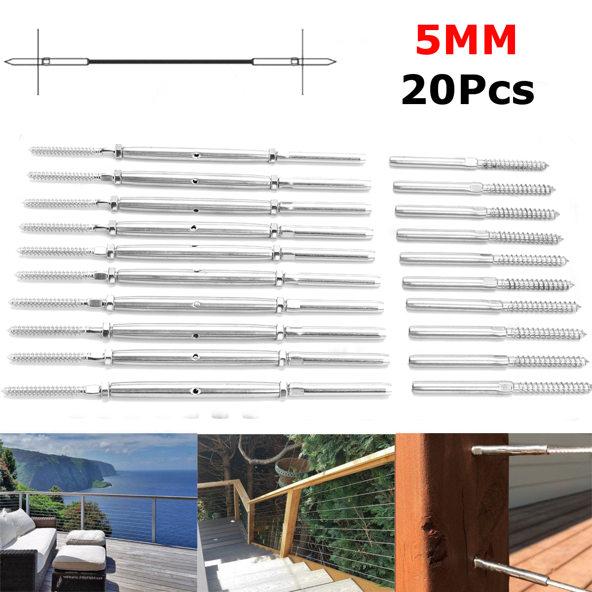 20Pcs/Set For 5mm Cable Silver Balustrade Cable Fixing Kit Screw Rope Balustrade Kit Stainless Steel Lag Screw Swage Terminal цена