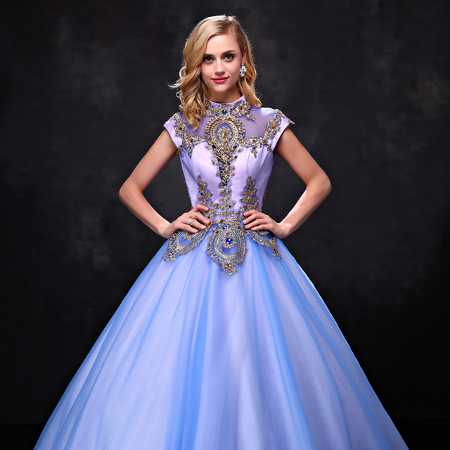 Online Shop Ceewhy Embroidered Prom Dresses High Neck Formal Dress