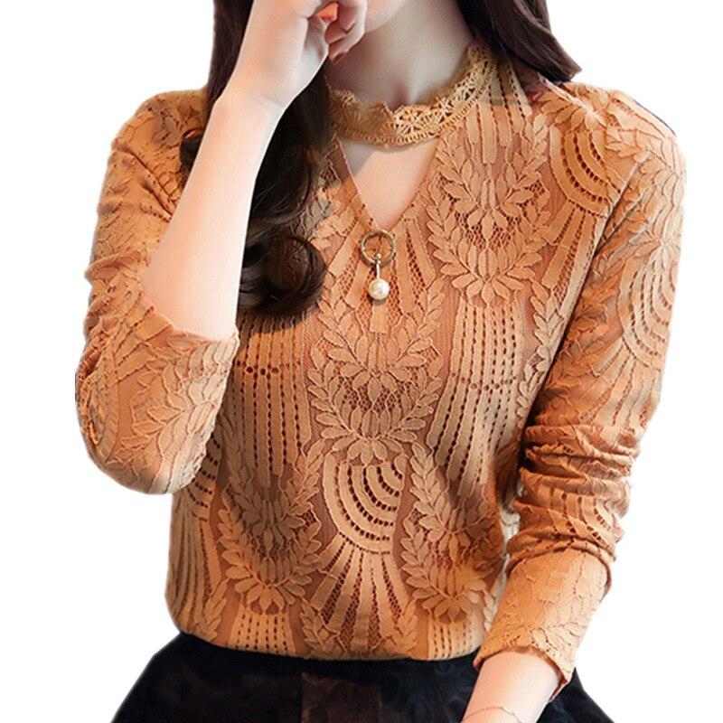 2017 Donne di Autunno Camicetta di Pizzo Manica Lunga Moda Camicie e Camicette Crochet Blusas Abbigliamento Casual Femminile Plus Size Femme Top