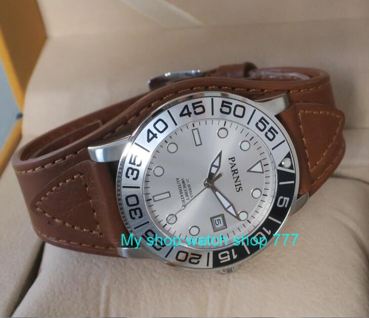 42MM <font><b>PARNIS</b></font> 21 jewels Japanese 821A automatic Self-Wind Mechanical watches Sapphire Crystal <font><b>10Bar</b></font> luminous men's watch 52sy image