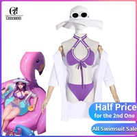 ROLECOS LOL Caitlyn Cosplay Costume Caitlyn Pool Party Cosplay Swimwear Costume Women Swimsuit Girl Outfit Game LoL Game Bikini