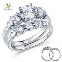 Павлин звезды круглой огранки 2-PCS массива стерлингового серебра 925 обещание Обручение кольцо комплект свадебный подарок ювелирные изделия cfr8066