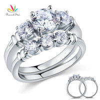 Created Diamond 2 Pc Solid Sterling 925 Silver Ring Set Wedding Christmas Present Gift CFR8066