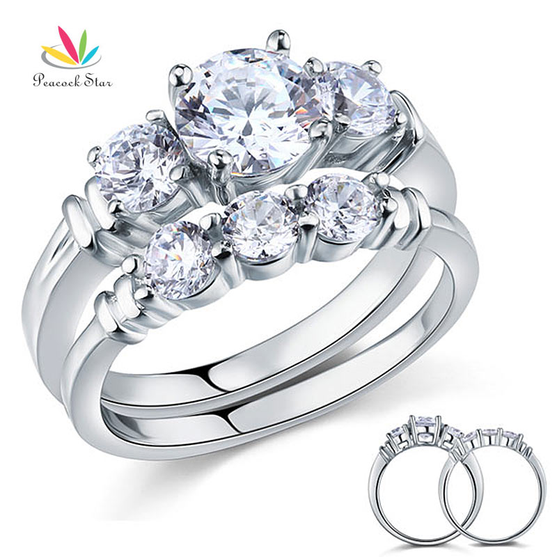 Peacock Star Round Cut 2-Pcs Solid Sterling 925 Silver Promise Engagement Ring Set Wedding Gift Jewelry CFR8066Peacock Star Round Cut 2-Pcs Solid Sterling 925 Silver Promise Engagement Ring Set Wedding Gift Jewelry CFR8066