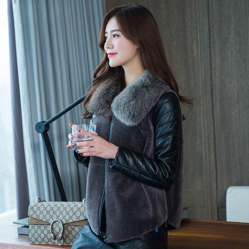 En Peau Vintage Mouton Manteau Véritable Coréen black Automne Gray Renard Femmes Tops 2018 Zt1006 Femme Dark Vêtements Veste Fourrure Col De Hiver Laine zIawaq8nx