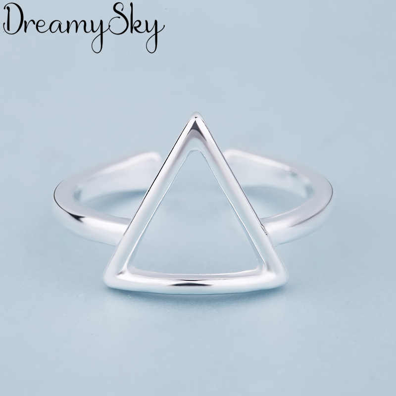 Luxury Jewelry Trendy 925 Sterling Silver Triangle Antique Rings For Women Ladies Large Adjustable Size Ring Joyas De Plata